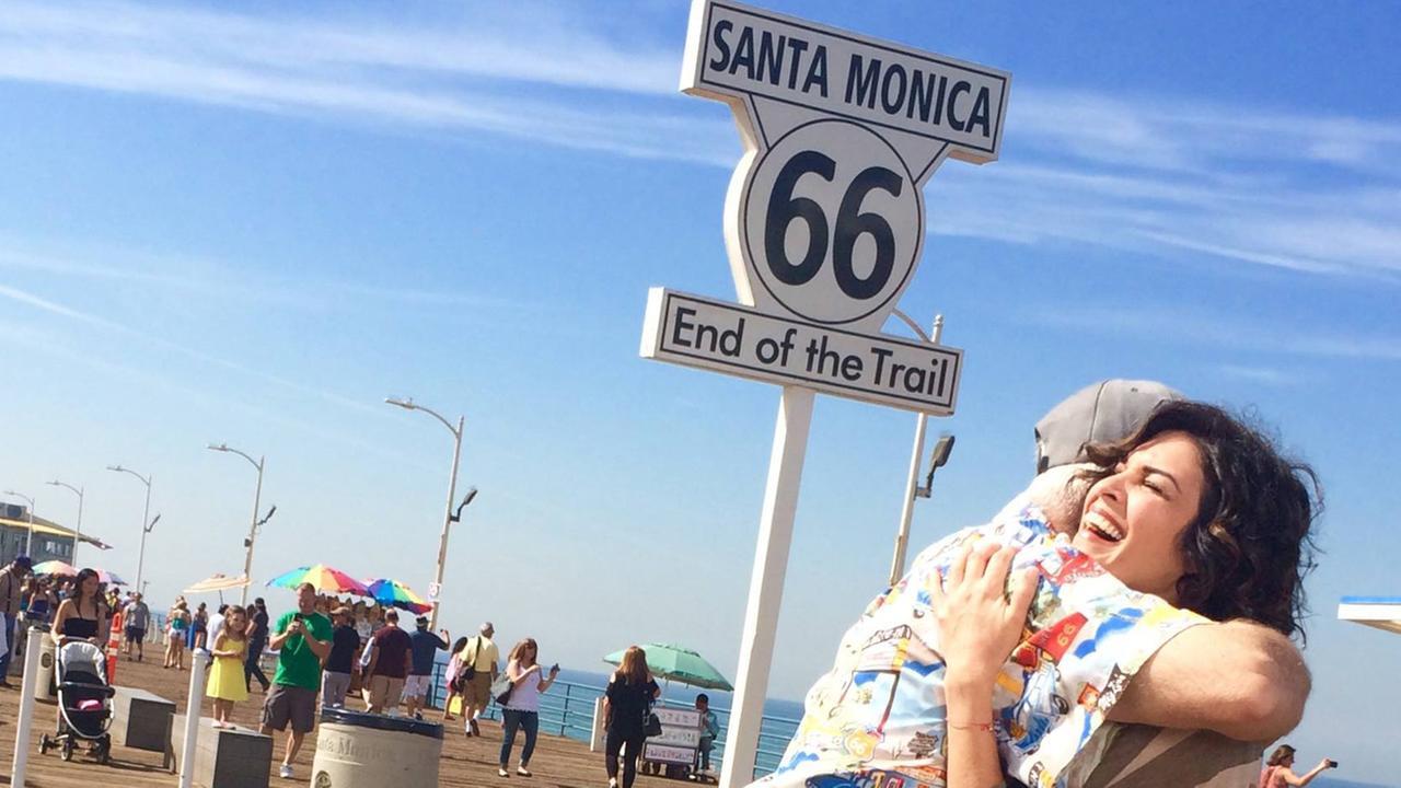 A big hug caps off an even bigger trip down Route 66.