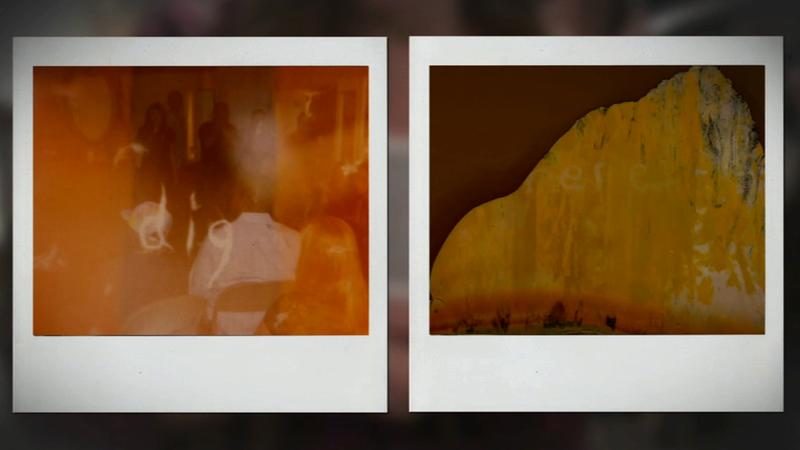 The words 'dig' and 'here' are seen in these Poloroid pictures taken at a home in Glassell Park.