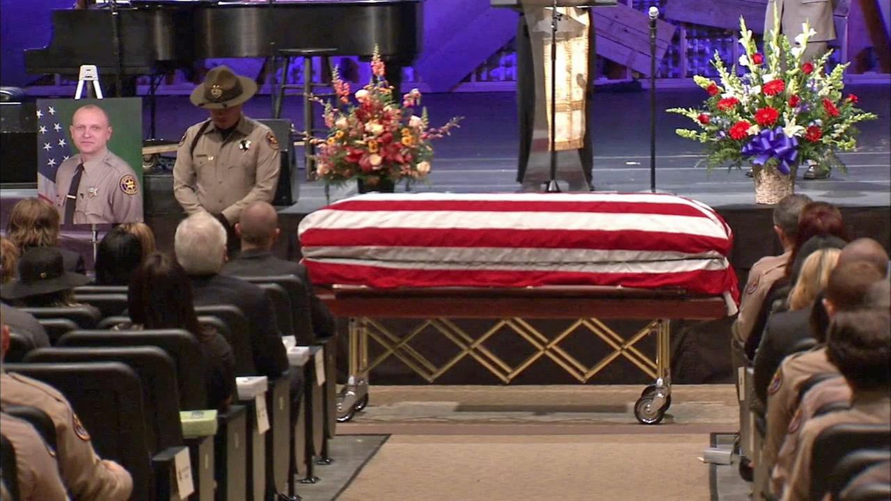 A funeral service for Ventura County sheriffs Deputy Eugene Kostiuchenko was held at Calvary Community Church in Westlake Village on Tuesday, Nov. 4, 2014.