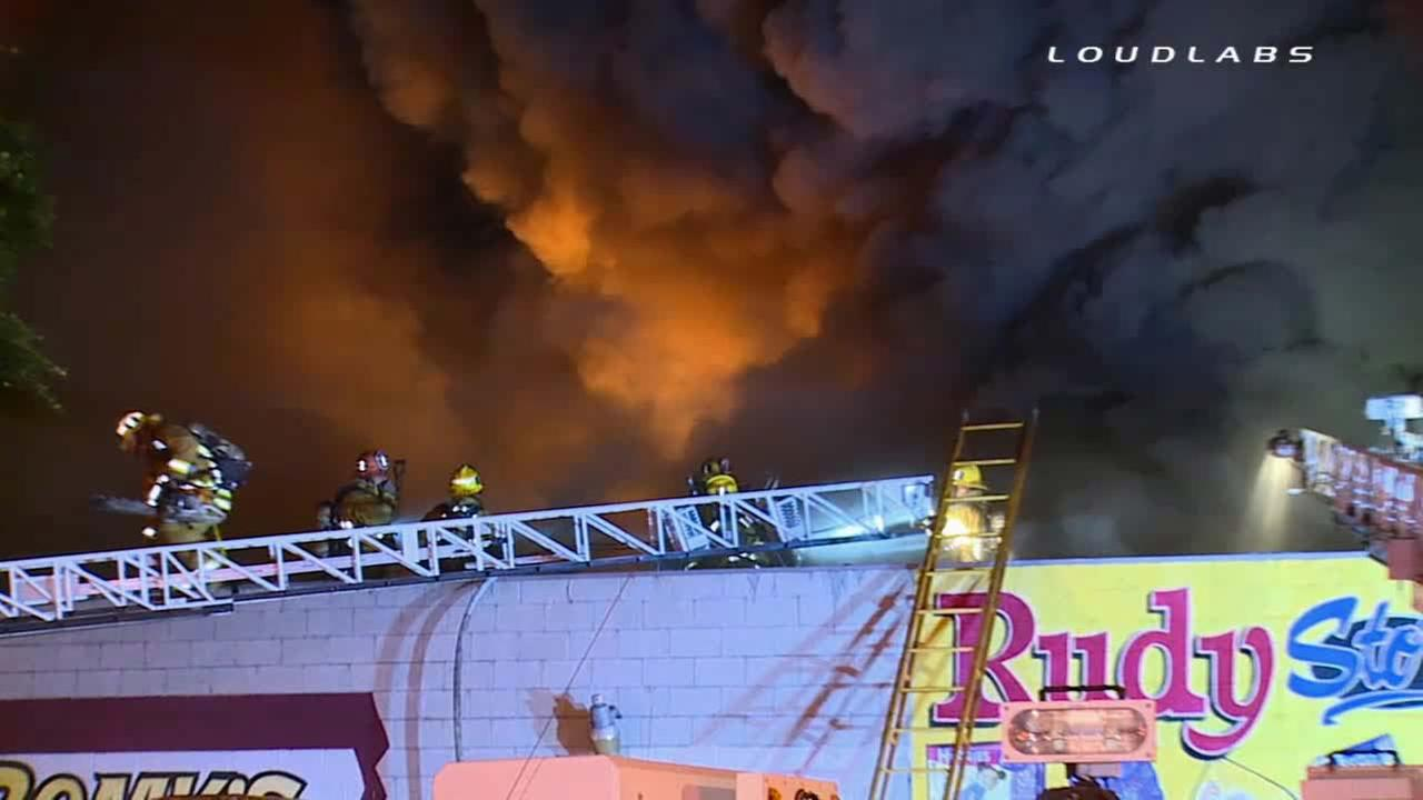 Firefighters respond to massive blaze at commercial building in Boyle Heights on Thursday, Nov. 6, 2014.