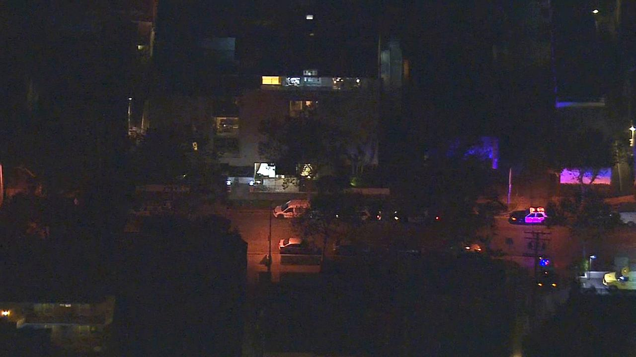 A Beverly Hills apartment building where a man was found dead in an elevator shaft is shown on Thursday, Nov. 6, 2014.