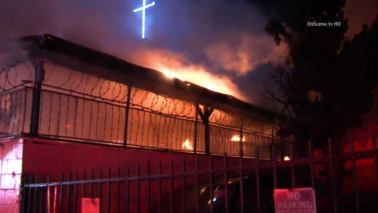 The Korean-American Presbyterian Church in the Westlake District was damaged by a fire on Friday, Nov. 7, 2014.