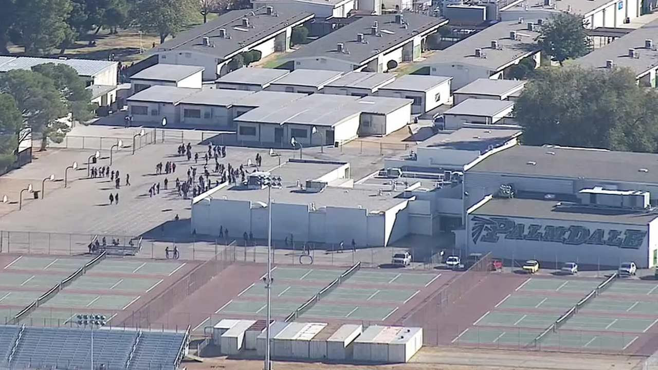 Students are shown at Palmdale High School, which was placed on a precautionary lockdown Friday due to a threat of a school shooting posted on Facebook.