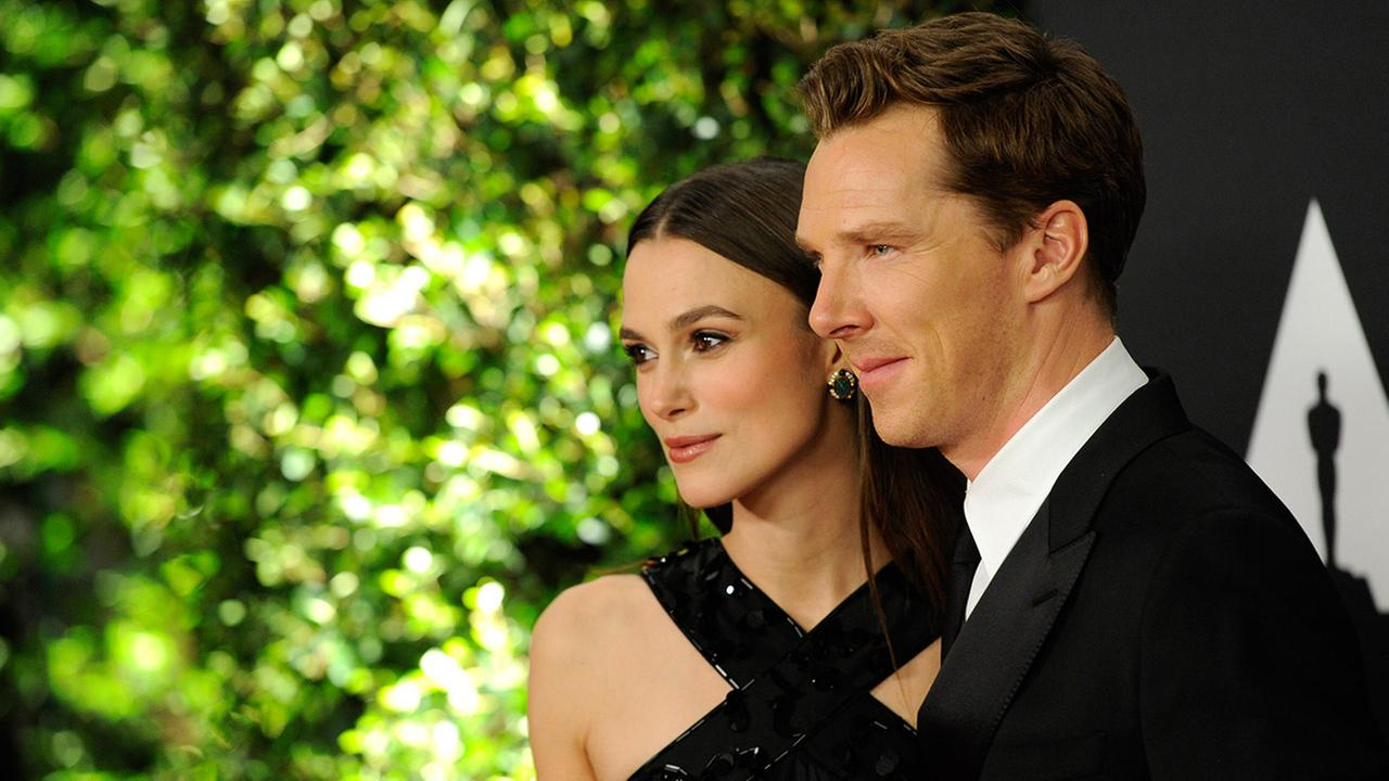 Keira Knightley, left, and Benedict Cumberbatch arrive at the 6th annual Governors Awards at the Hollywood and Highland Center on Saturday, Nov. 8, 2014 in Los Angeles.