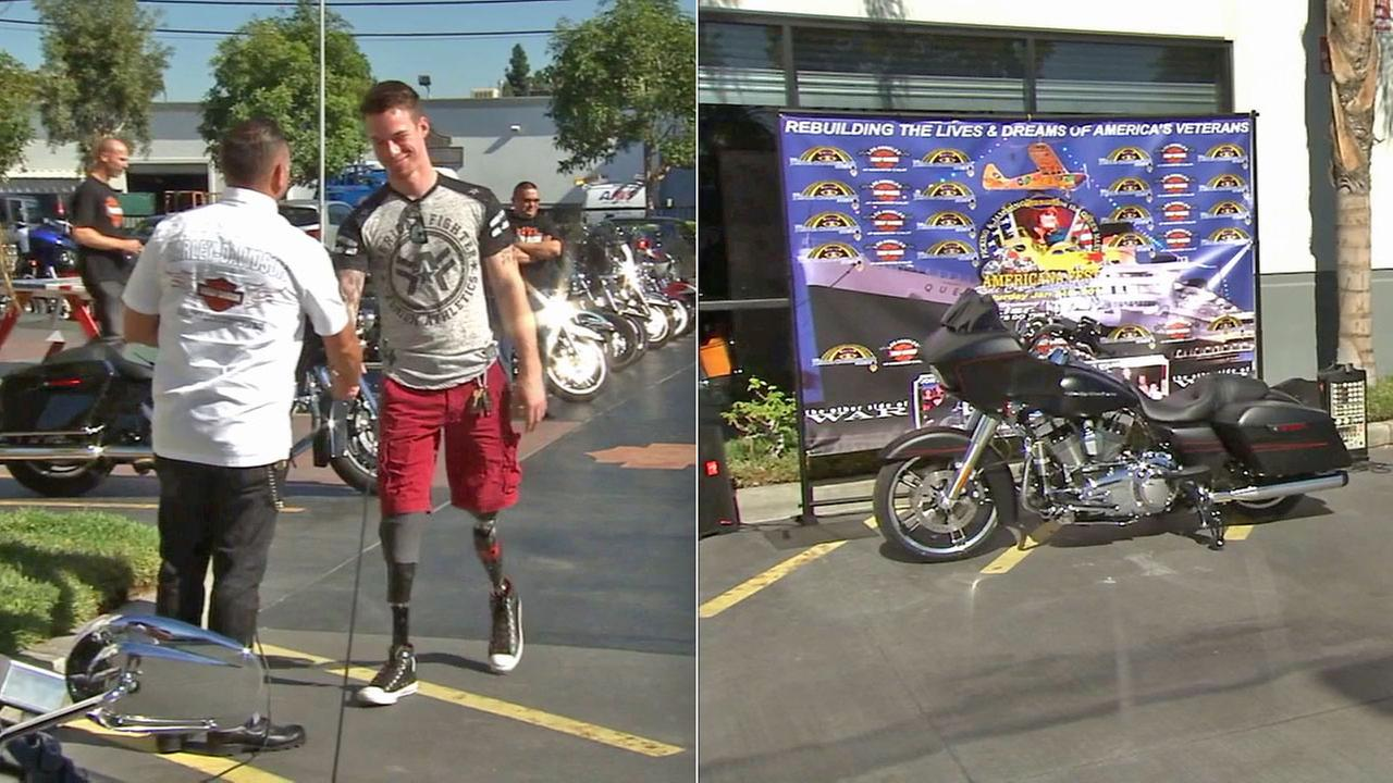 Marine Cpl. Christopher Van Etten shakes hands (left) after receiving a new Harley-Davidson motorcycle (right) on Saturday, Nov. 8, 2014.