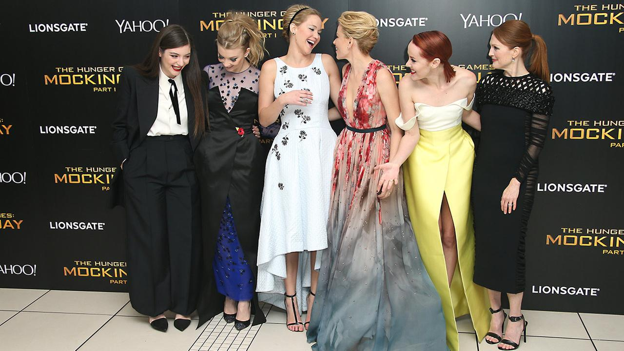 Lorde, Natalie Dormer, Jennifer Lawrence, Elizabeth Banks, Jena Malone and Julianne Moore at the world premiere of The Hunger Games: Mockingjay Part 1 in London, Monday, Nov. 10, 2014. Joel Ryan/Invision/AP
