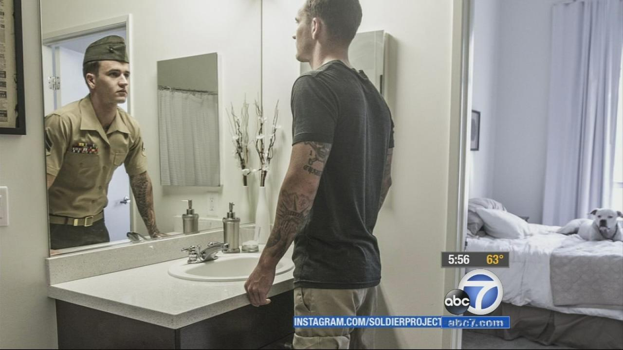 A local photographers project is showing military veterans in a new light by combining images of the vets mirrored in uniform and civilian dress.