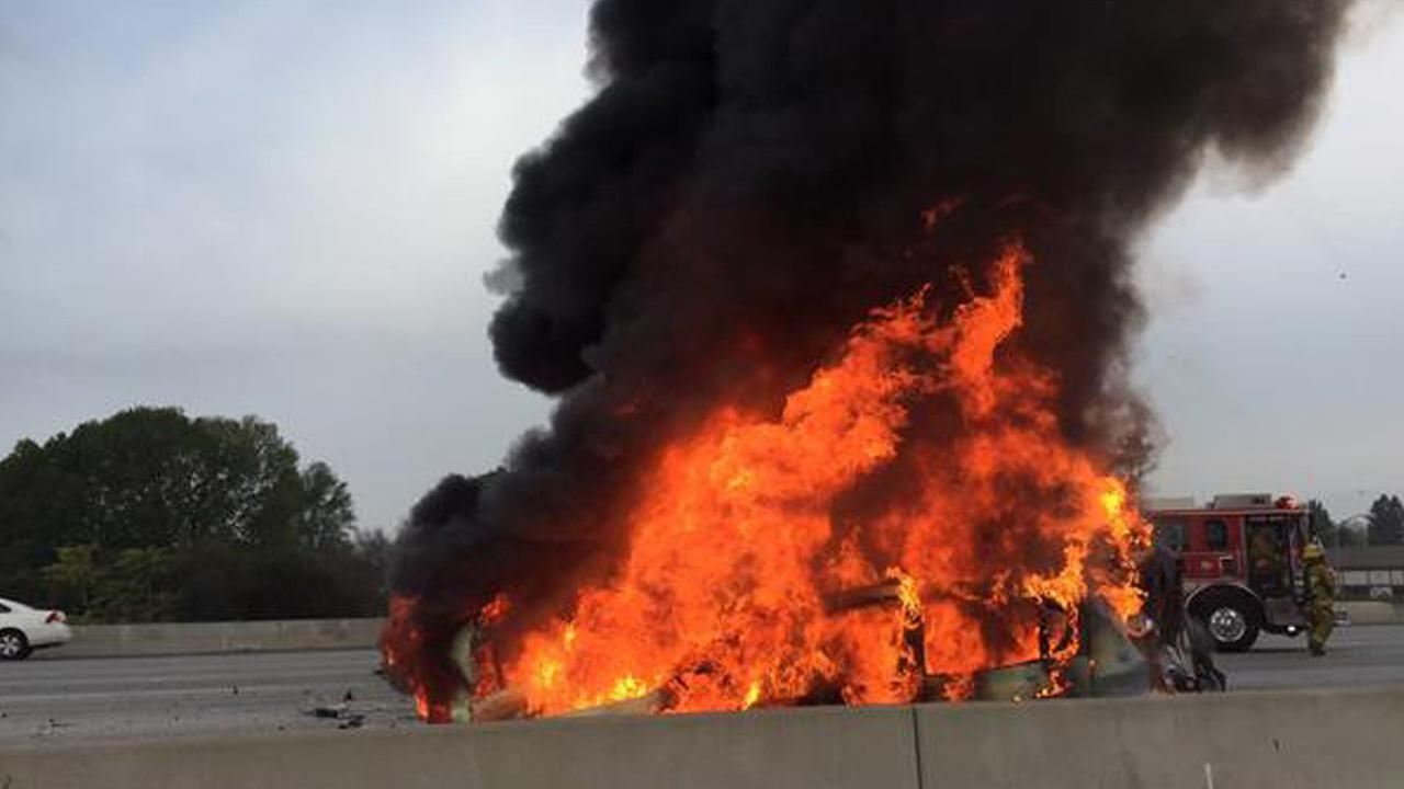 ABC7 viewer Robert Angelo tweeted this picture of a fiery multi-vehicle accident on the 405 Freeway on Friday, Nov. 14, 2014.