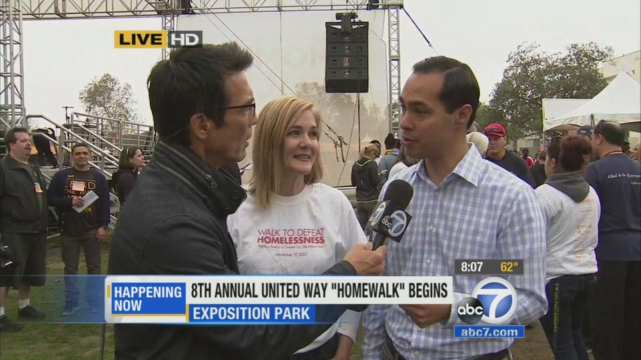 ABC7 anchor David Ono speaks with Homewalk 2014 organizers about the annual event on Saturday, Nov. 15, 2014.