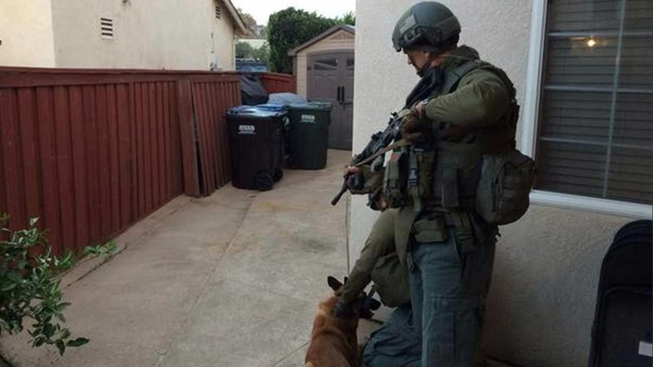 A law enforcement officer is shown in this image from the Los Angeles County Sheriffs Departments Special Enforcement Bureaus Twitter account.