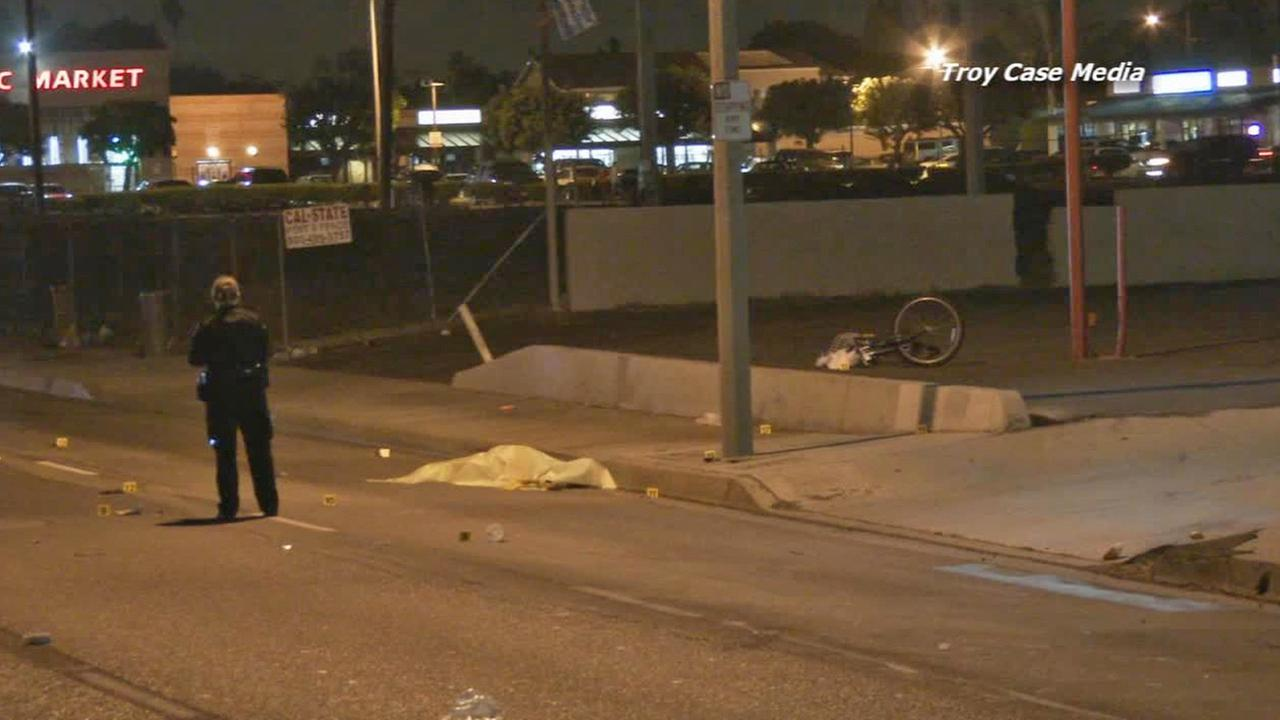 Authorities investigate the scene where a bicyclist was hit and killed in Santa Ana on Saturday, Nov. 15, 2014.