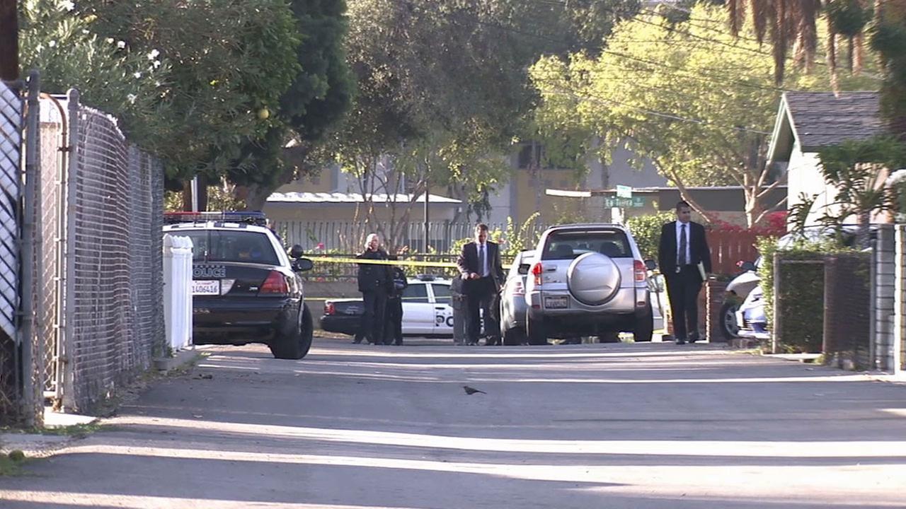 Pasadena police respond to the scene of an officer-involved shooting near La Tierra Street and Avocado Lane Sunday, Nov. 16, 2014.