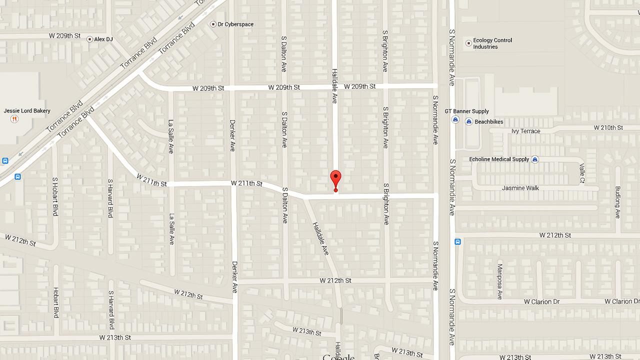 A map shows the 21000 block of Halldale Avenue in Harbor City.