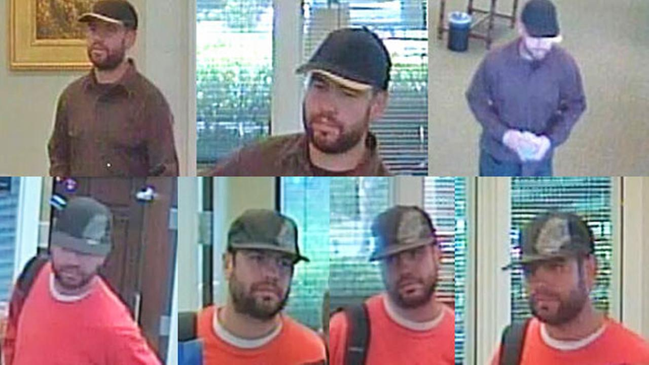 TOP: Temecula bank robbery suspect on July 8, 2014. BOTTOM: Temecula bank robbery suspect on November 13, 2014.