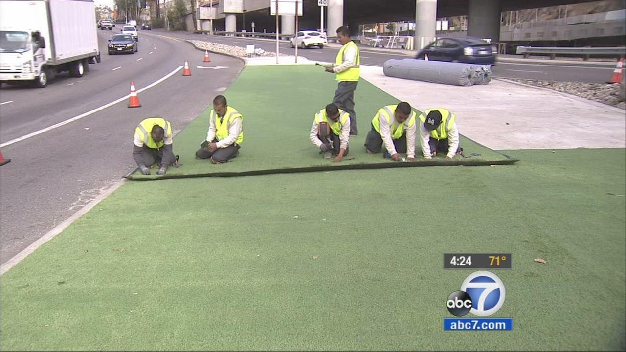 With the ongoing California drought, artificial turf is being installed at the marquee at the iconic Hollywood Bowl.