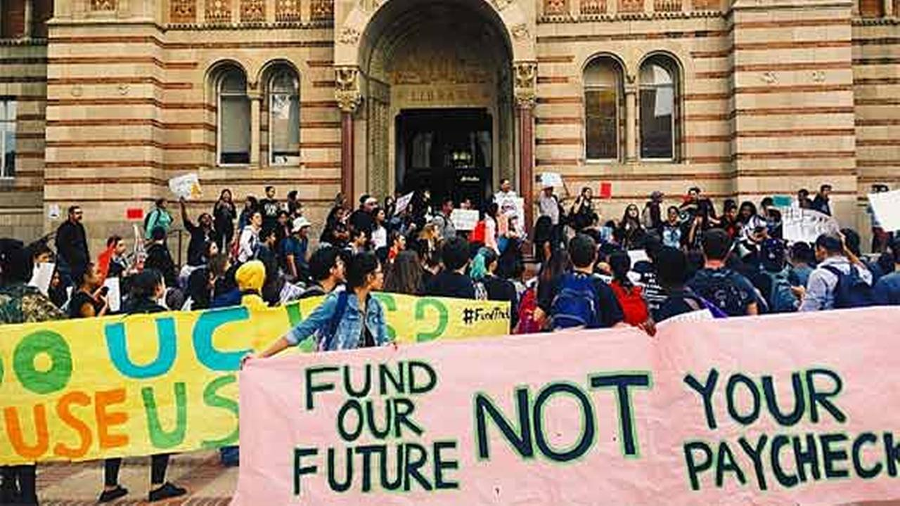 Students protest proposed tuition hikes at UCLA on Tuesday, Nov. 18, 2014.