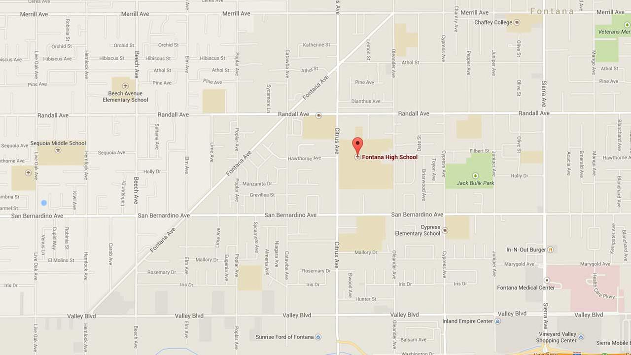 This Google Maps image shows the location of Fontana High School.