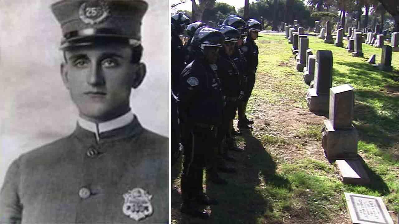 LAPD officer Walter Kreps was killed in a motorcycle collision near Avenue 20 in Highland Park on Tuesday, March 28, 1916.