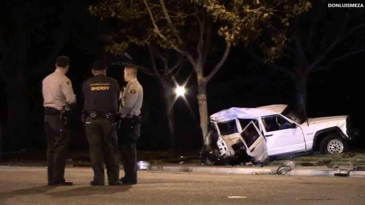 Three people were killed in a traffic collision near 25th Street West and Avenue K in Lancaster Friday, Nov. 21, 2014.