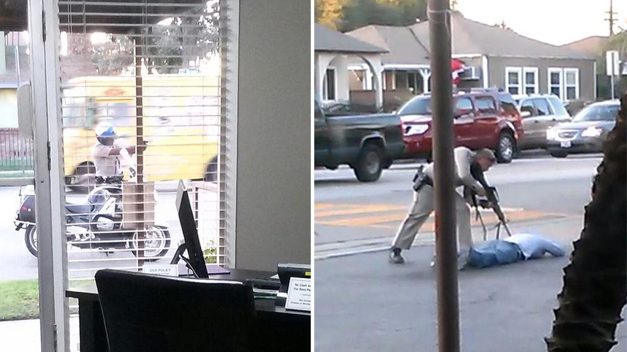 ABC7 viewer Hector Aguaya submitted these photos of a CHP officer pointing a gun at a suspect on Saturday, Nov. 22, 2014.