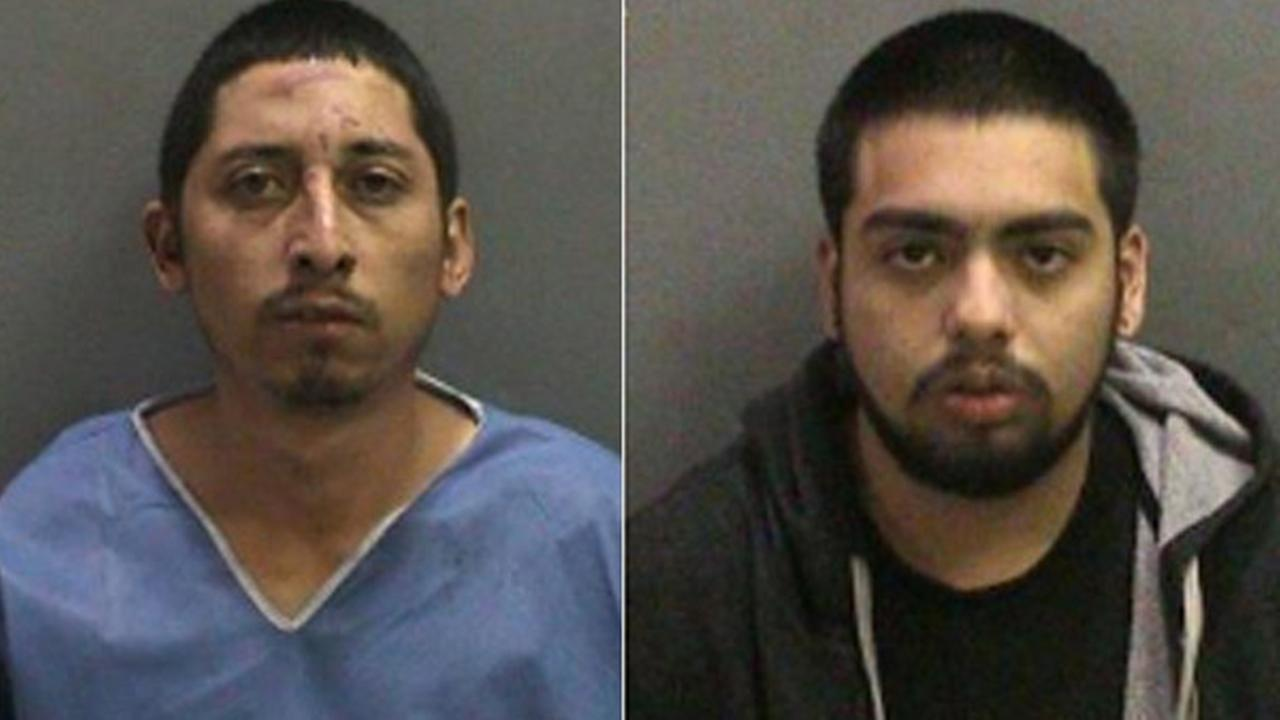 Ricardo Celio, 29, (left) and Andrew Ortiz, 18, (right) were arrested in connection to a burglary in Fountain Valley on Friday, Nov. 21, 2014.