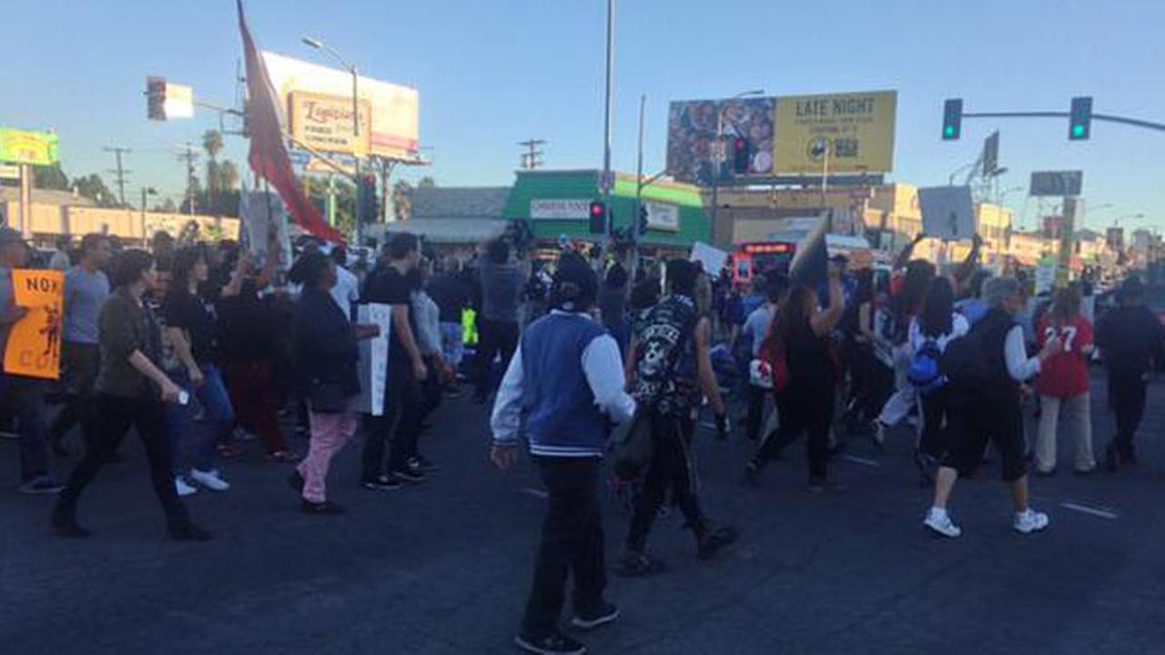 Ferguson protesters in Los Angeles march in the Leimert Park area on Tuesday, Nov. 25, 2014.