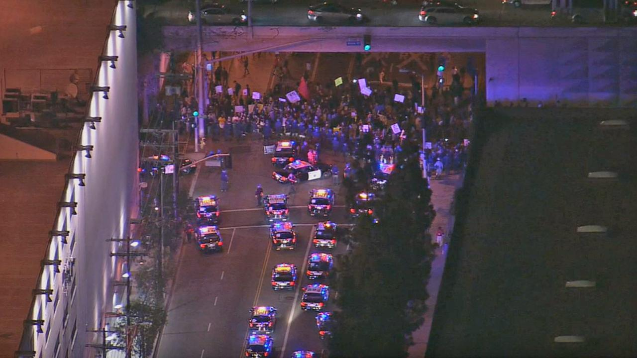 Demonstrators protest the Ferguson grand jury decision on the southbound 101 Freeway near Alvarado Street north of downtown Los Angeles on Wednesday, Nov. 26, 2014.