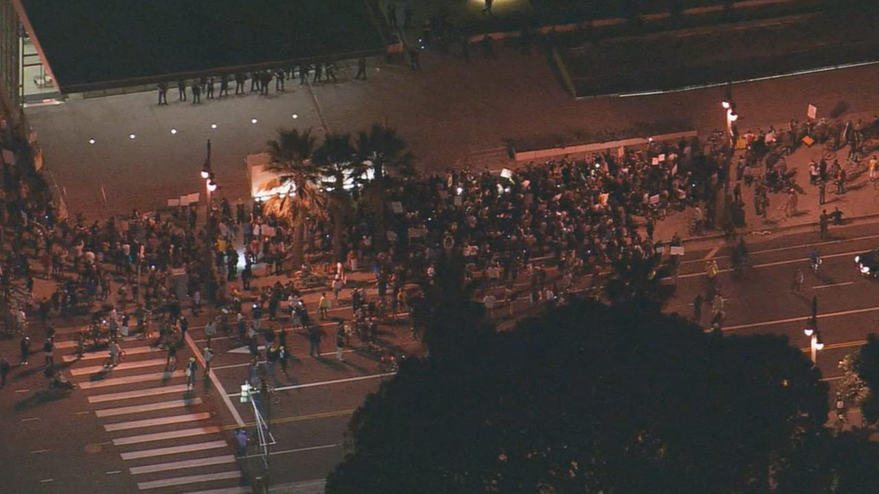 Ferguson protesters gather in front of LAPD Administration Building at 100 W. 1st Street, Tuesday, Nov. 25, 2014.