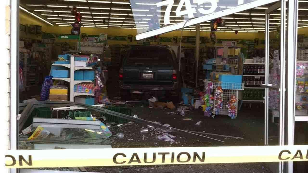 Fillmore police respond to the scene of a car into a store on the 700 block of Ventura Street Saturday, April 19, 2014.