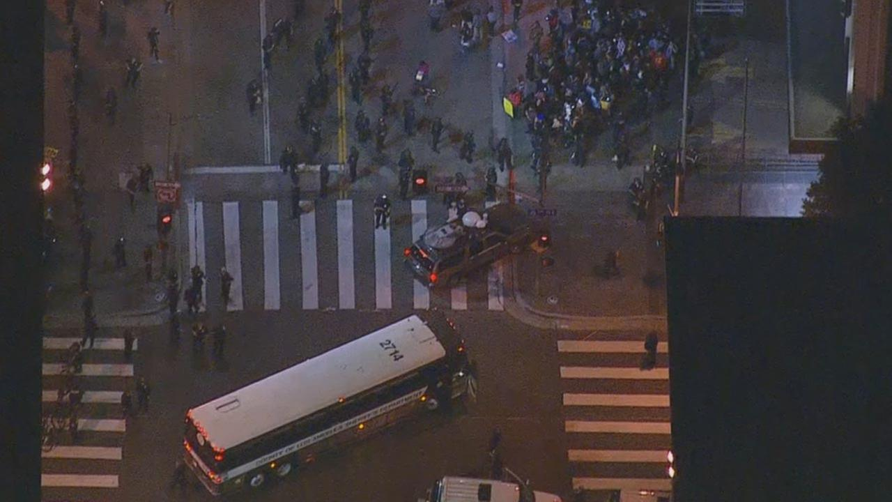 About 50 protesters were arrested for unlawful assembly at 6th and Hope in downtown L.A. Wednesday night, Nov. 26, 2014.