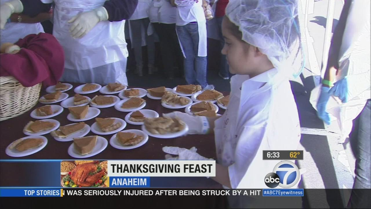 Thousands will be served a free Thanksgiving dinner at the Honda Center in Anaheim Thursday, Nov. 27, 2014, continuing a tradition that began over 20 years ago.