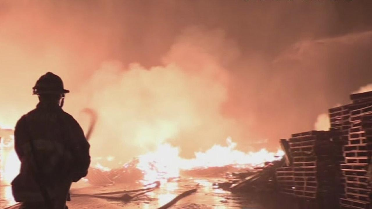A massive fire broke out at a commercial facility in Fontana on Thursday, Nov. 27, 2014.