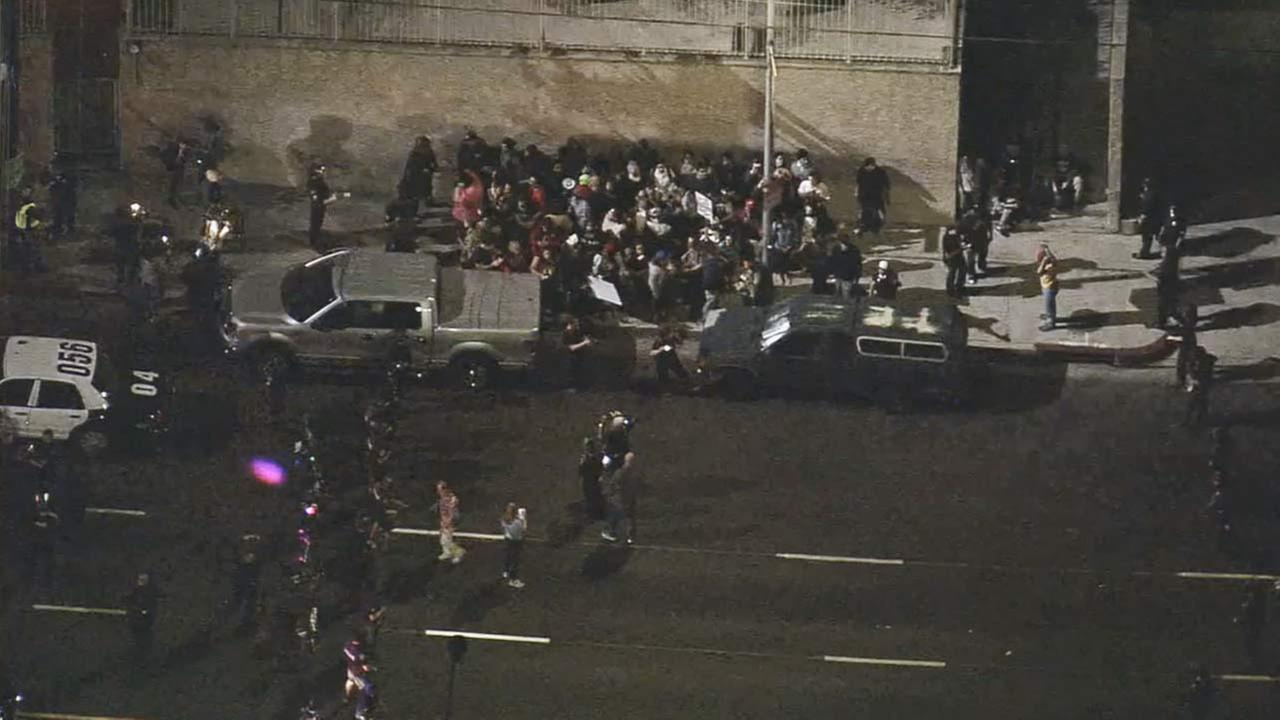 Protesters surrounded by LAPD officers on Alvarado just north of Beverly, Nov. 28, 2014.