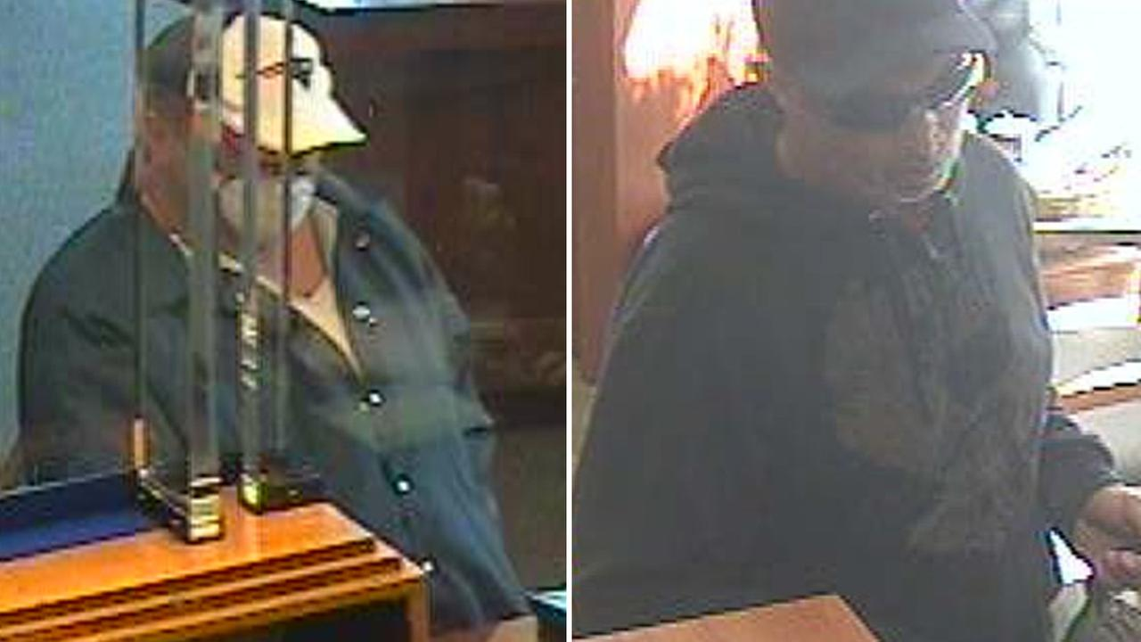 Two suspects in separate bank robberies in Los Angeles are shown on Friday, Nov. 28, 2014.