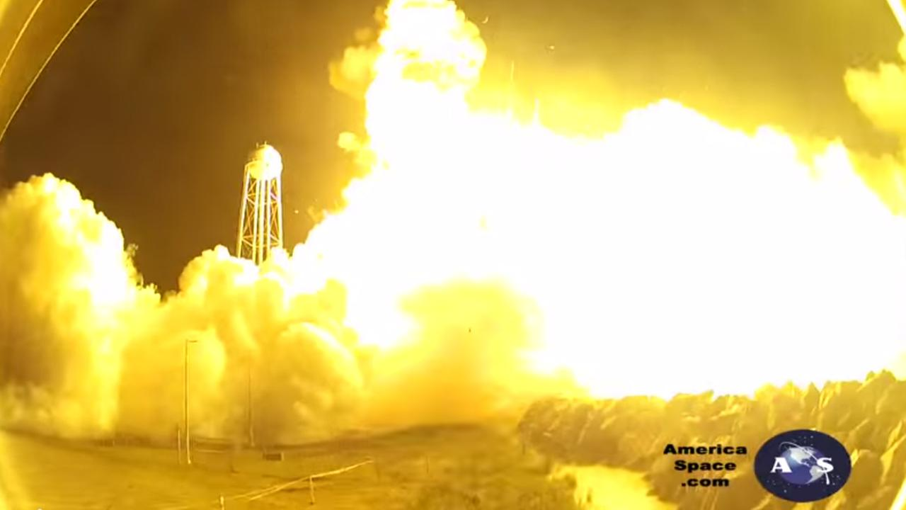 The Antares rocket blew up six seconds after lifting off for the space station last month -- the entire incident captured on camera.