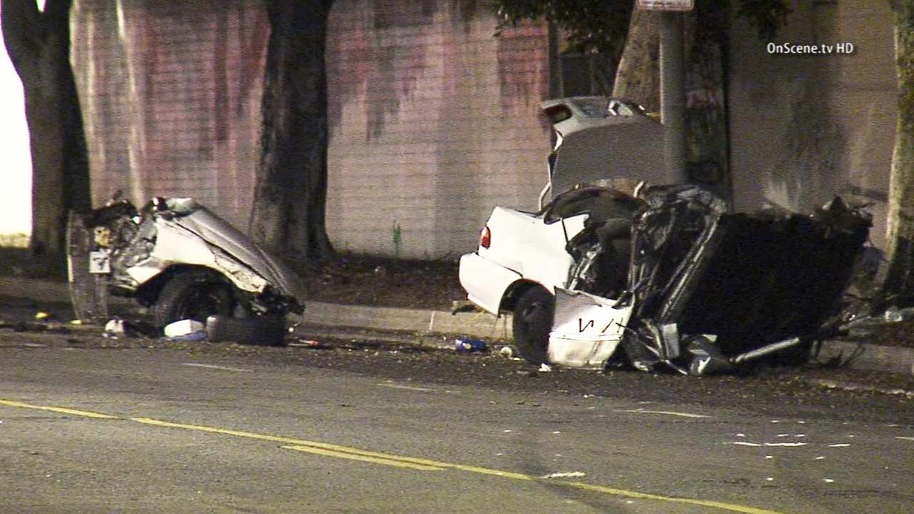 A female motorist in Baldwin Hills was killed after a violent crash split her vehicle in two on Monday, Dec. 1, 2014.