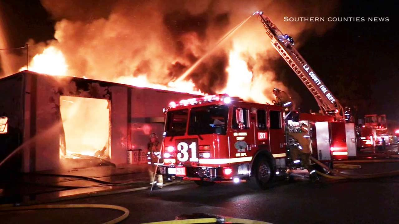 A mattress factory in Paramount was gutted when a fire ripped through the structure on Thursday, Dec. 4, 2014.