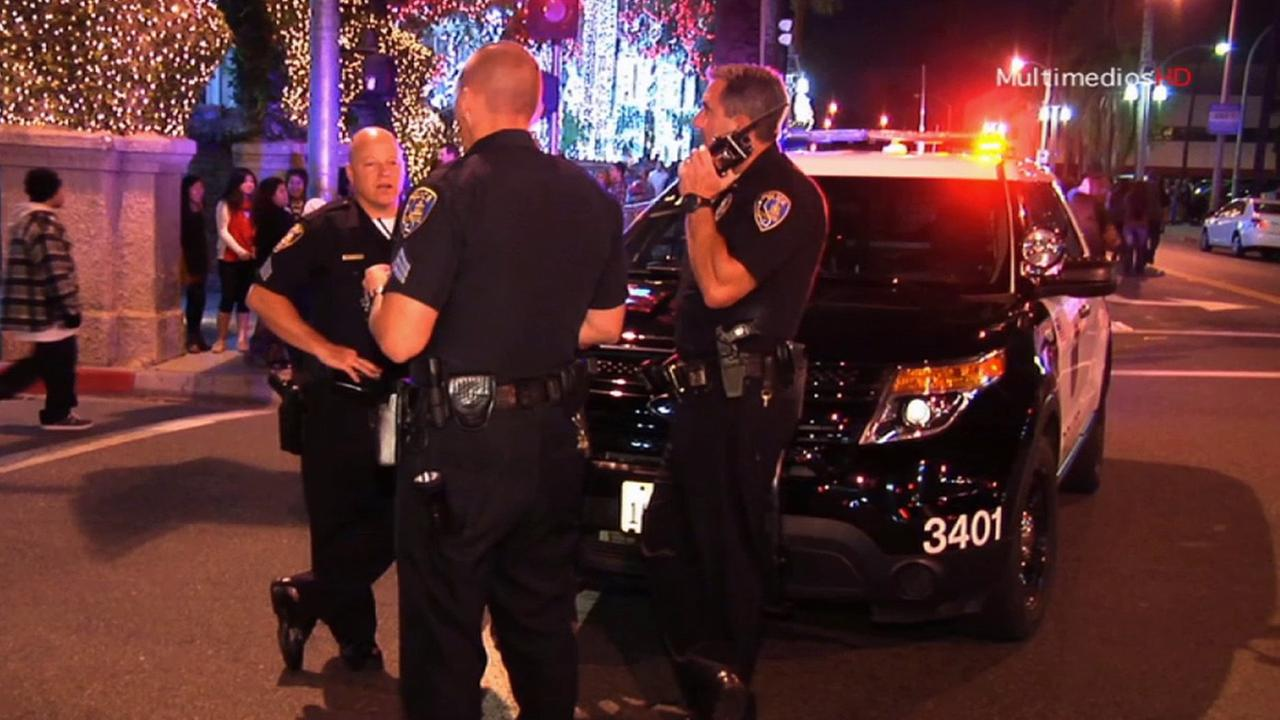 Riverside police officers were on scene at a protest over recent police killings on Main Street Riverside, Saturday, Dec. 6, 2014.