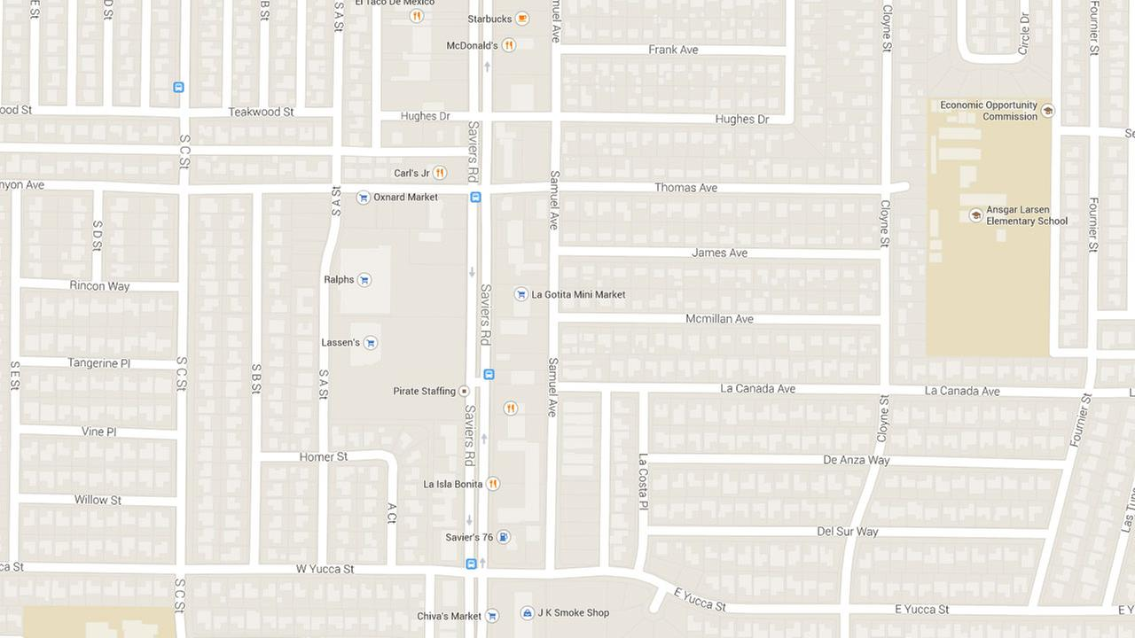 A Google Maps image indicates the area near the 3500 block of Samuel Avenue in Oxnard.
