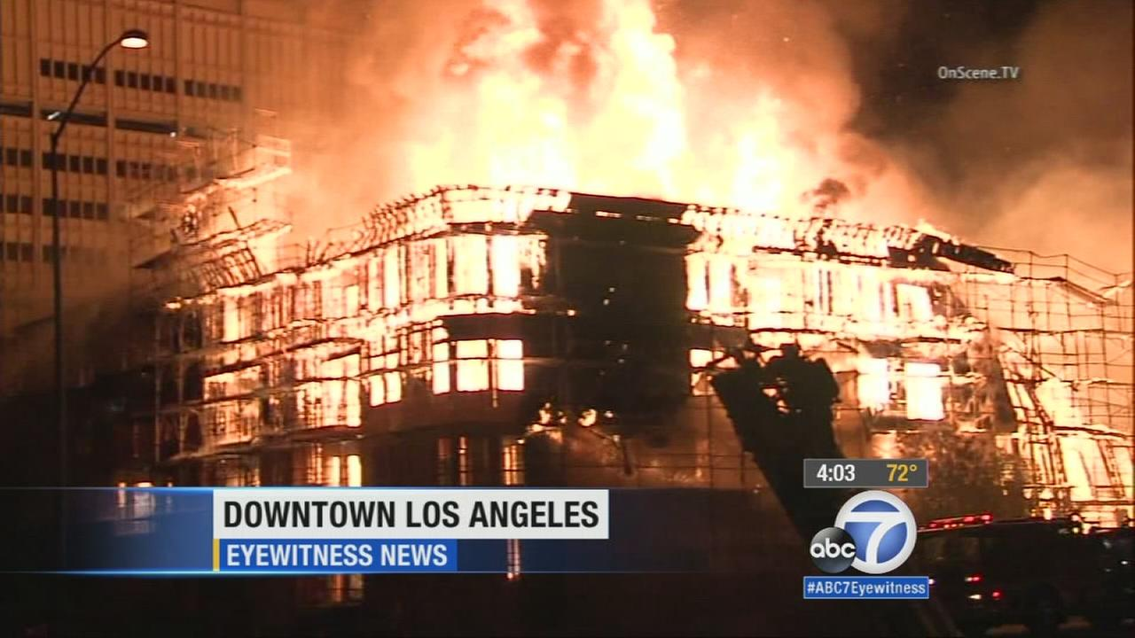 All lanes of the northbound 110 Freeway have reopened in downtown L.A. as crews continued to clean up Mondays massive fire.