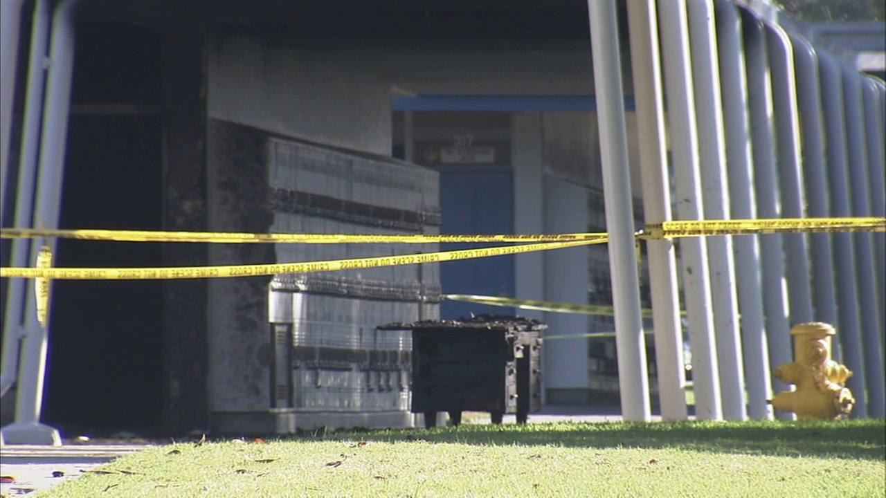A three-alarm fire that broke out at Bolsa Grande High School in Garden Grove has been deemed suspicious by fire officials.