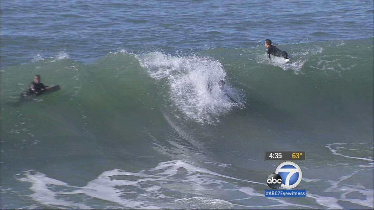 Surf is way up along Southern California beaches in the wake of the storm. Officials have some serious warnings for those deciding to venture into the ocean.