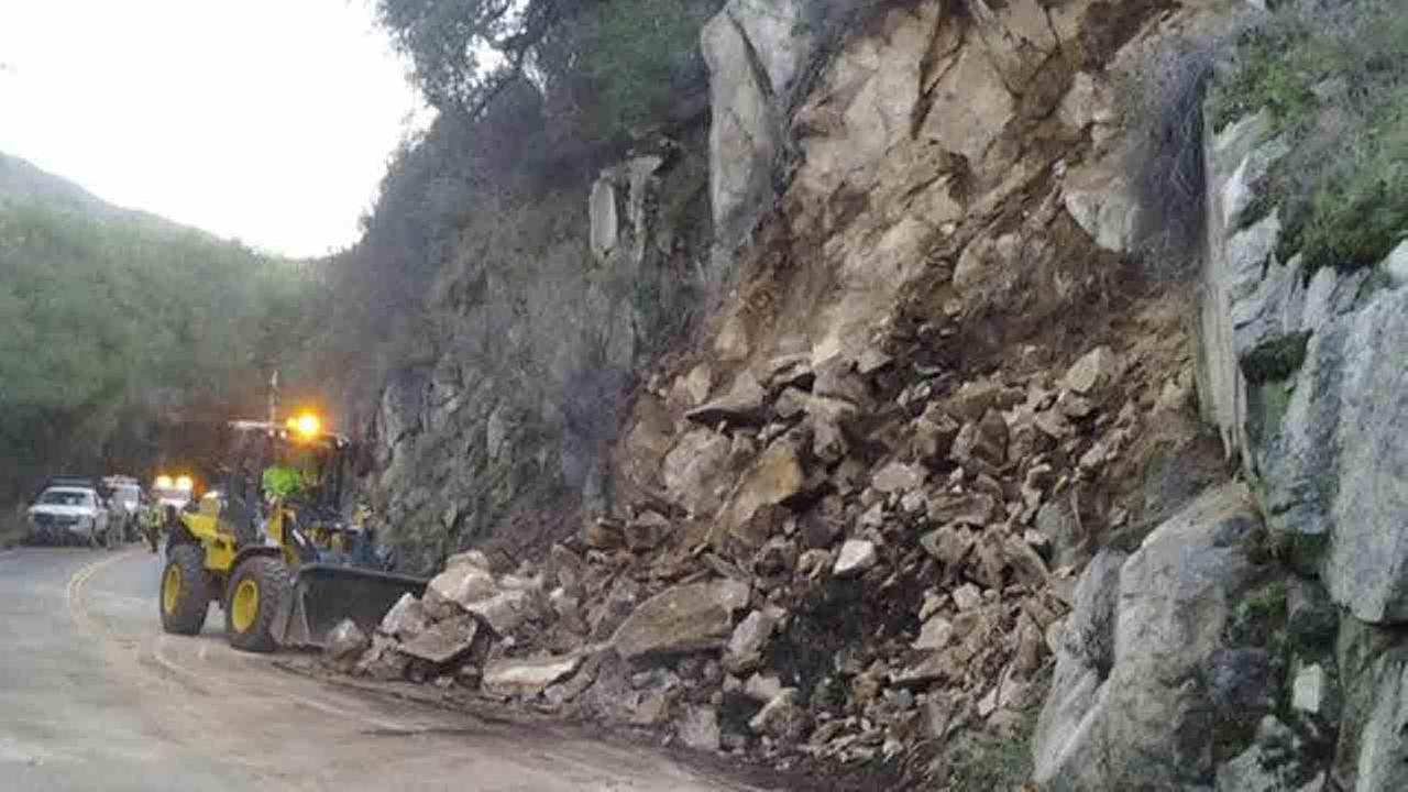 The California Highway Patrol shut down the Ortega Highway in both directions due to falling boulders on Sunday, Dec. 14, 2014.