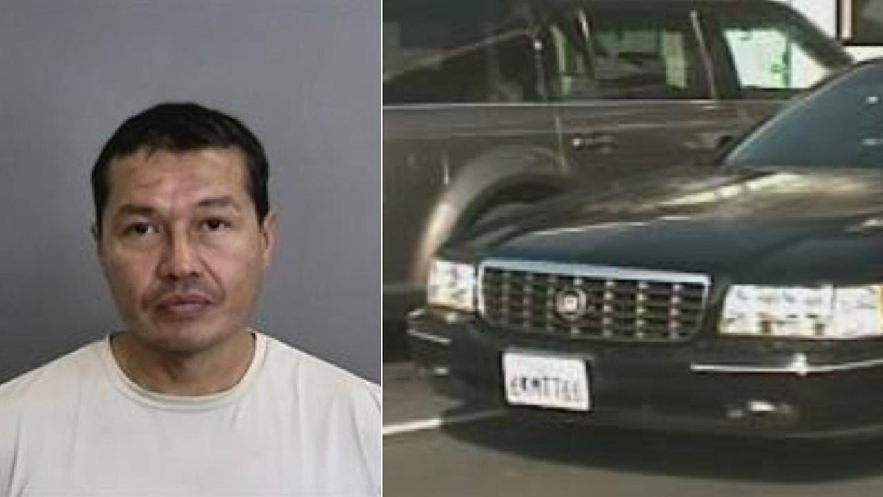 (L) Gabriel Magna Lopez is seen in this mugshot from Anaheim police. (R) Lopezs black 1999 Cadillac is seen.