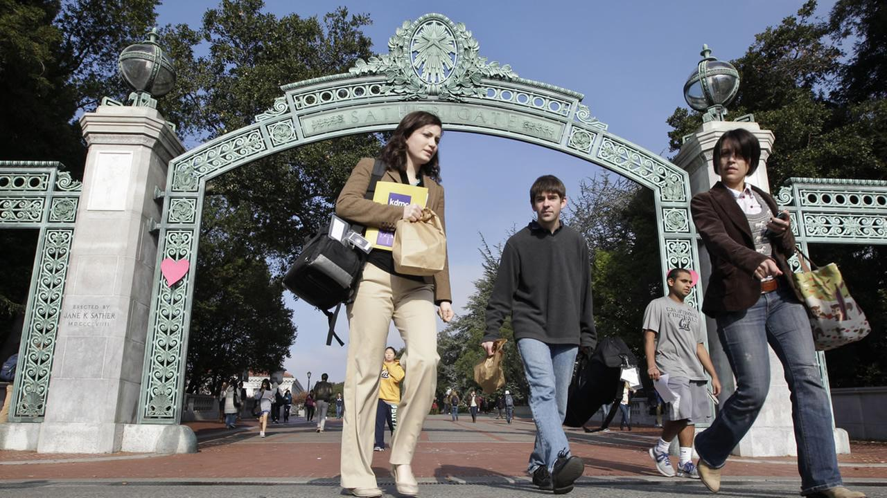 University of California, Berkeley students walk through Sather Gate on the Berkeley, Calif., campus, Wednesday, Dec. 14, 2011.