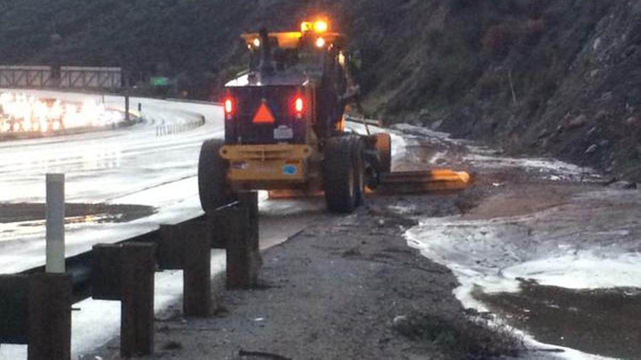 A mudslide shut down the 91 Freeway in Anaheim Hills on Wednesday, Dec. 17, 2014.