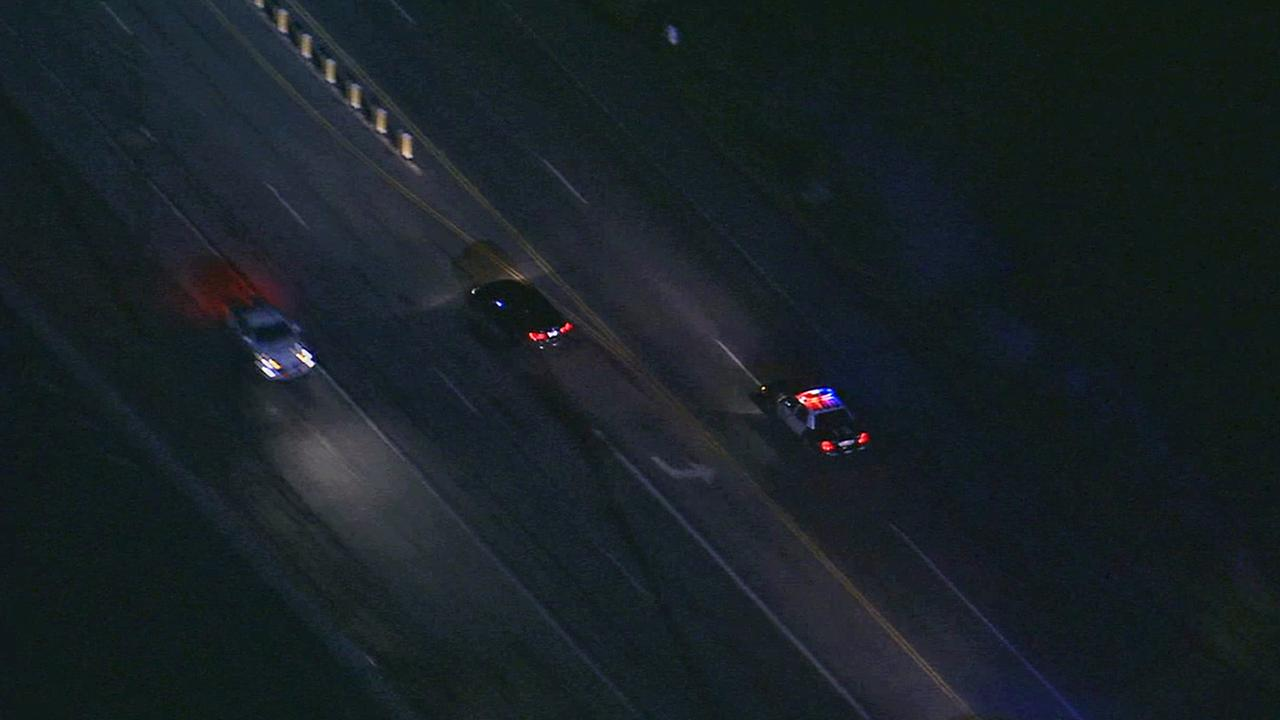 A suspect drove the wrong way on Pacific Coast Highway near Pepperdine University during a police chase on Wednesday, Dec. 17, 2014.