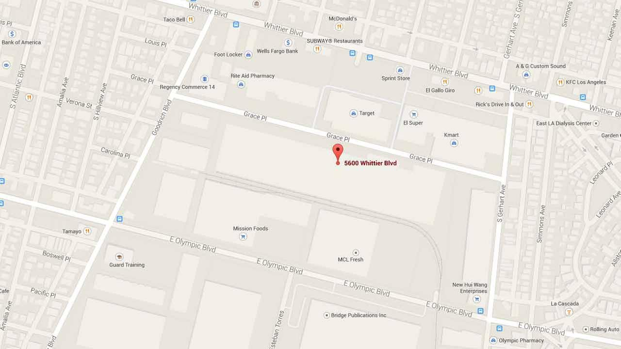 This Google Maps image shows the location of Target in the city of Commerce on the 5600 block of Whittier Boulevard.