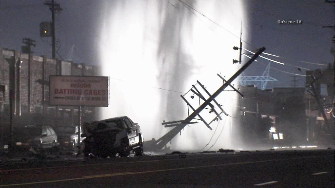 The driver of a pickup truck plowed into some power poles and a fire hydrant in Sun Valley on Friday, Dec. 19, 2014.