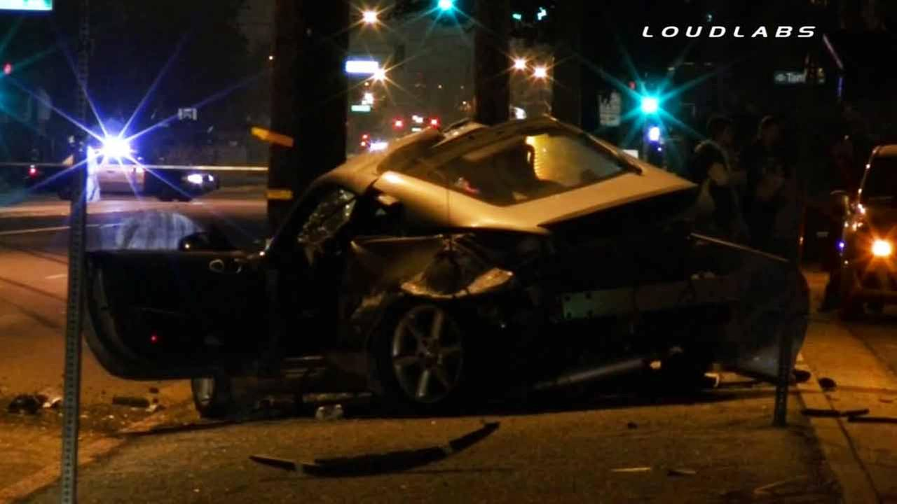A car was involved in a fatal crash in La Puente near the intersection of Temple and Meeker avenues on Thursday, Dec. 18, 2014.